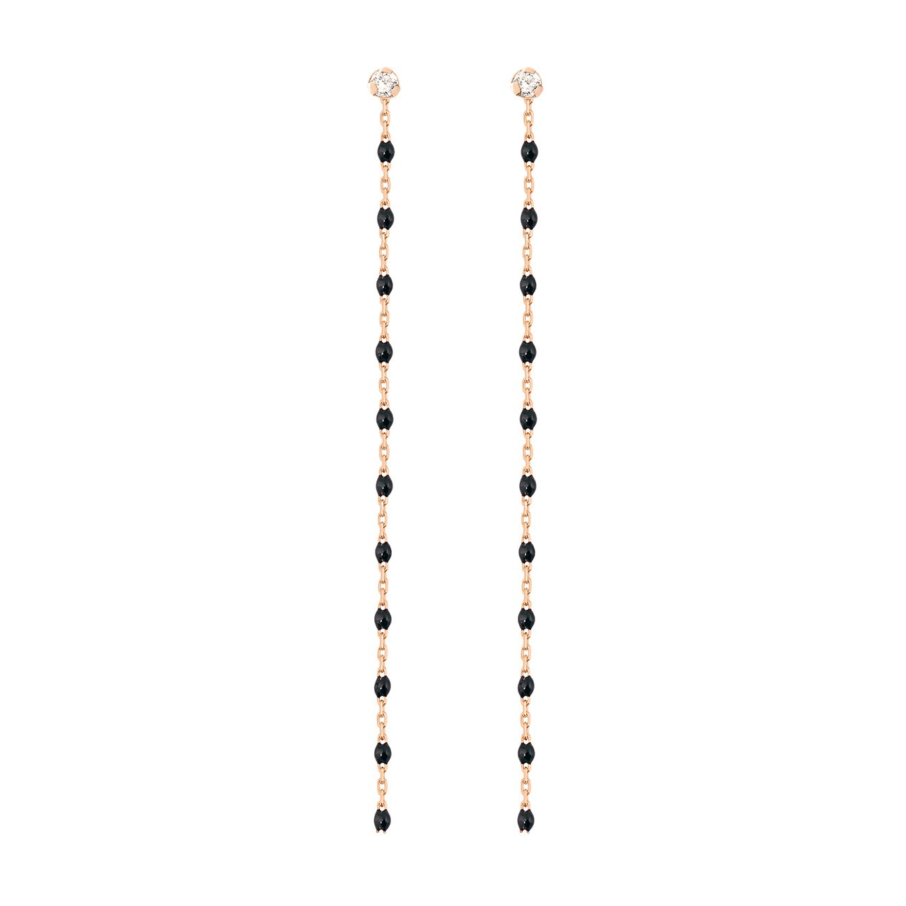 Gigi Clozeau - Boucles d'oreilles noire Gigi Party, diamants, or rose