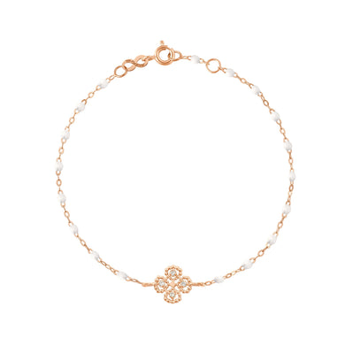 Gigi Clozeau - Bracelet blanc Lucky Trèfle, diamants, or rose, 17 cm