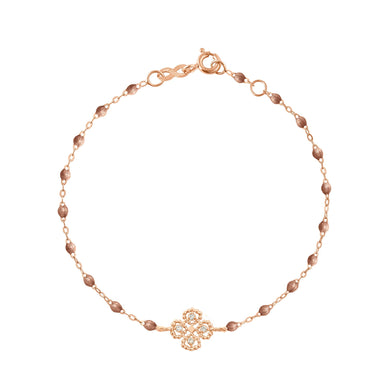 Gigi Clozeau - Bracelet cuivre Lucky Trèfle, diamants, or rose, 17 cm