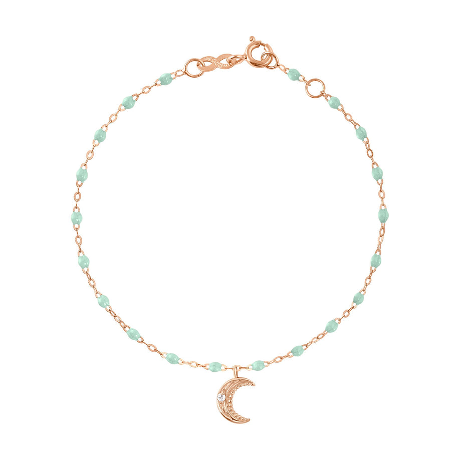 Gigi Clozeau - Bracelet jade Lune, diamants, or rose, 17 cm
