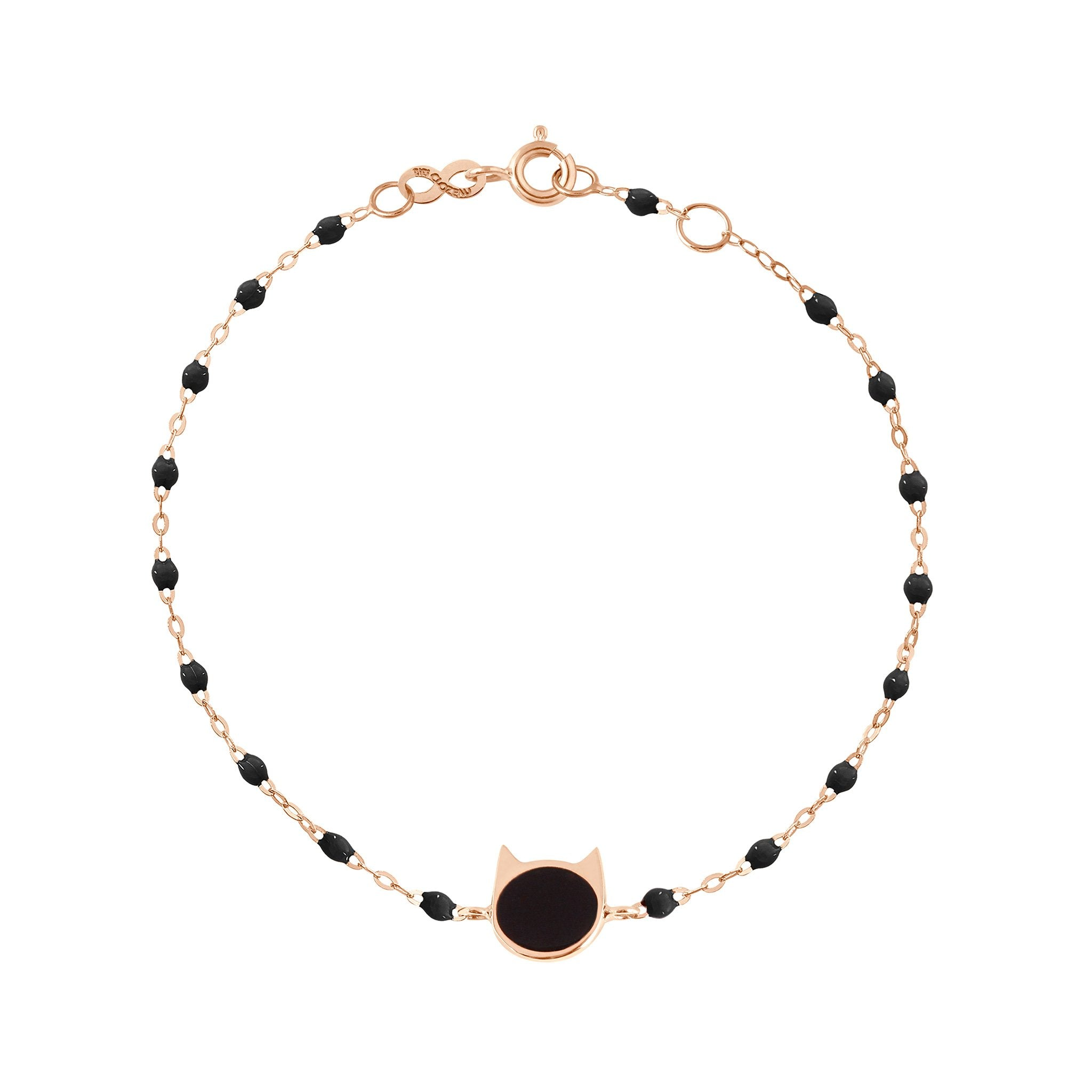Gigi Clozeau - Bracelet noir Chat or rose, 17 cm