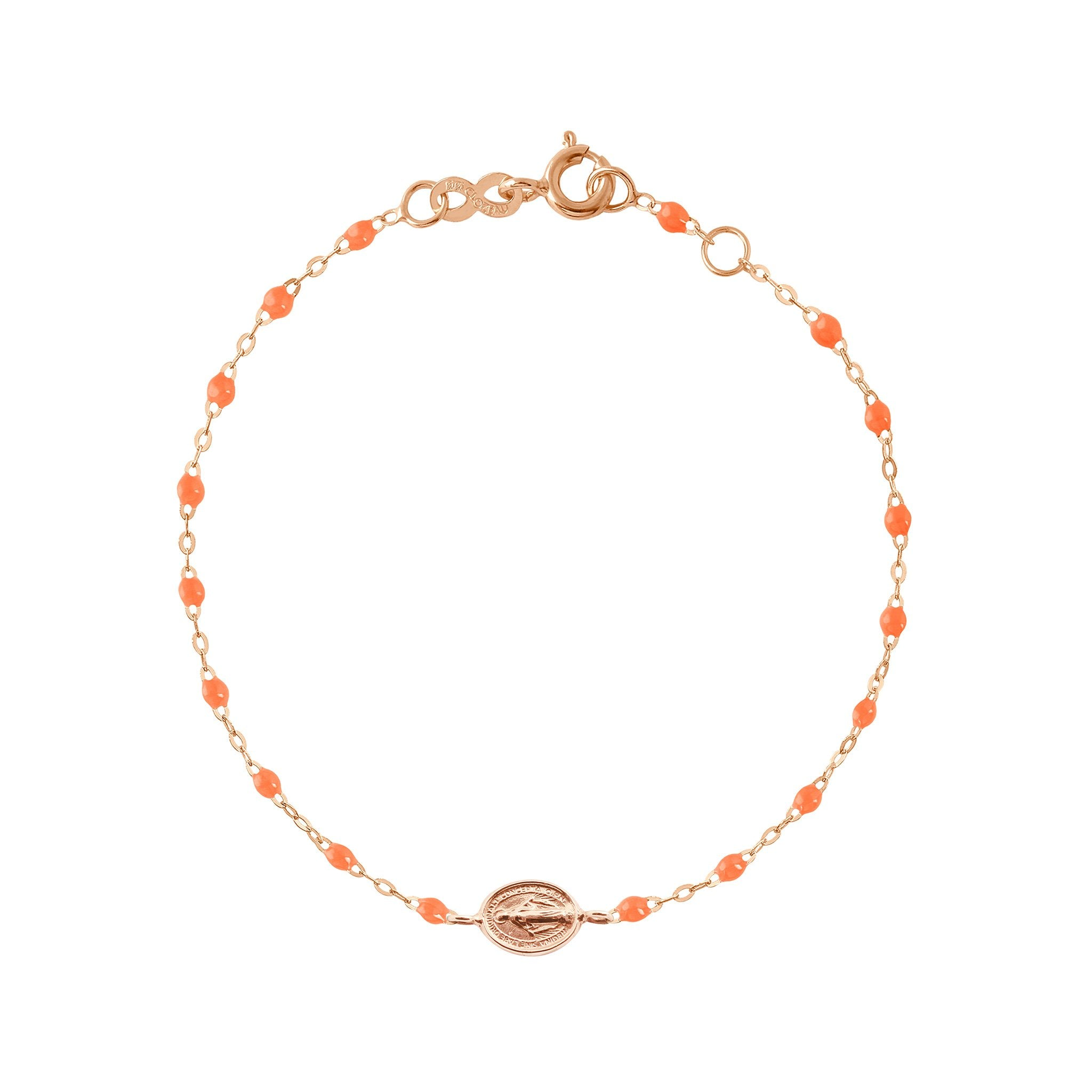 Gigi Clozeau - Bracelet orange fluo Madone or rose, 17 cm