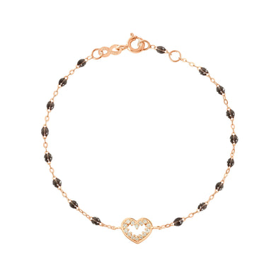 Gigi Clozeau - Bracelet quartz Cœur Suprême, diamants, or rose, 17 cm
