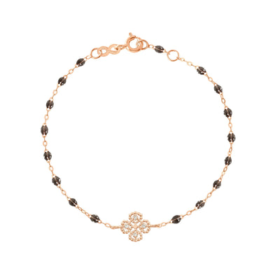 Gigi Clozeau - Bracelet quartz Lucky Trèfle, diamants, or rose, 17 cm