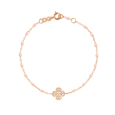 Gigi Clozeau - Bracelet rose bébé Lucky Trèfle, diamants, or rose, 17 cm