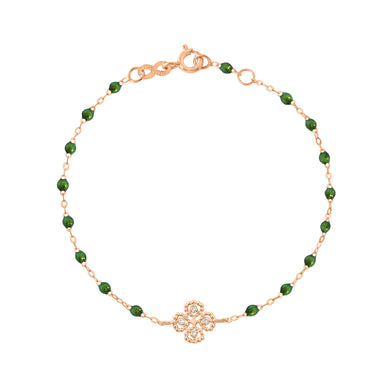 Gigi Clozeau - Bracelet scarabée Lucky Trèfle, diamants, or rose, 17 cm