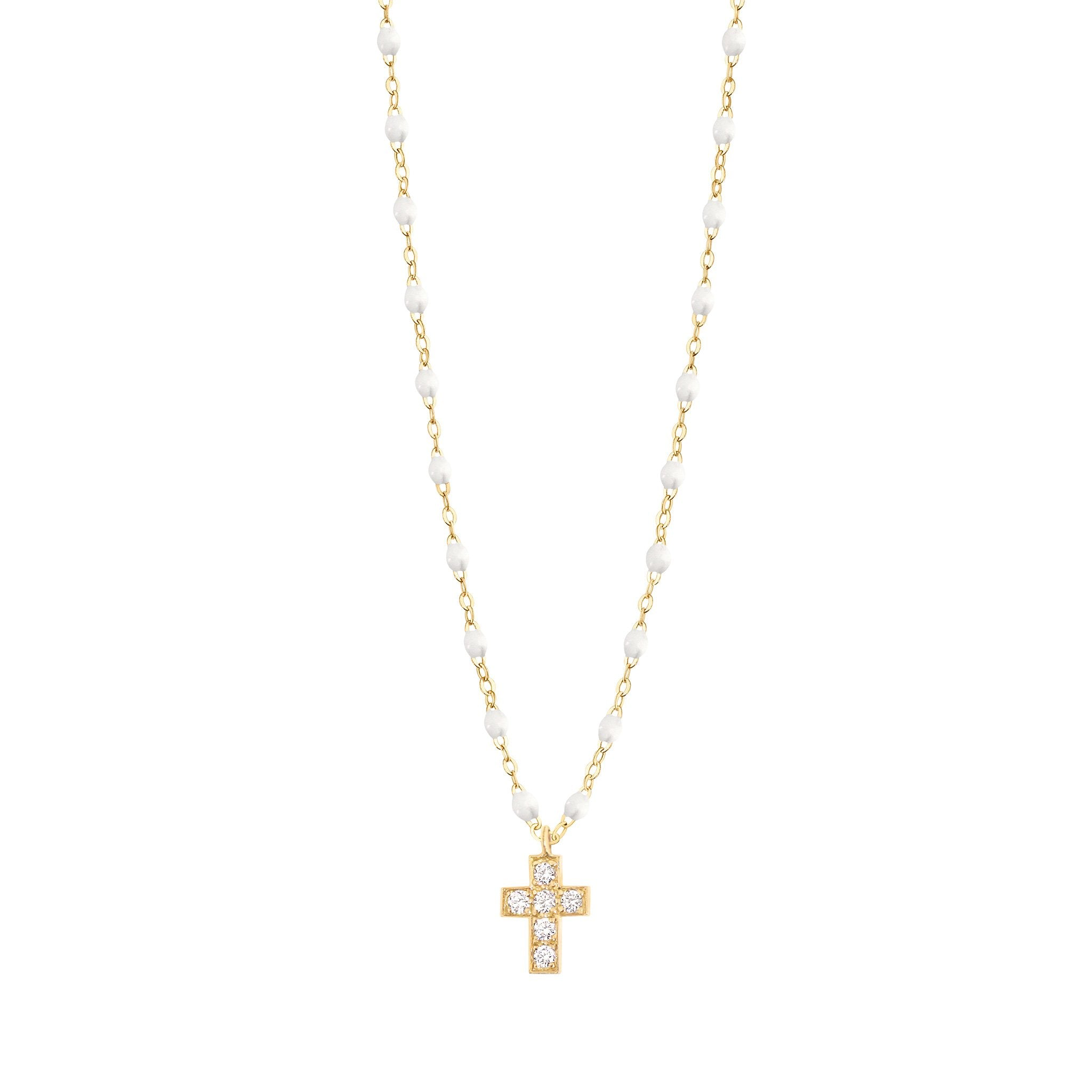 Gigi Clozeau - Collier blanc Croix diamants, or jaune, 42 cm