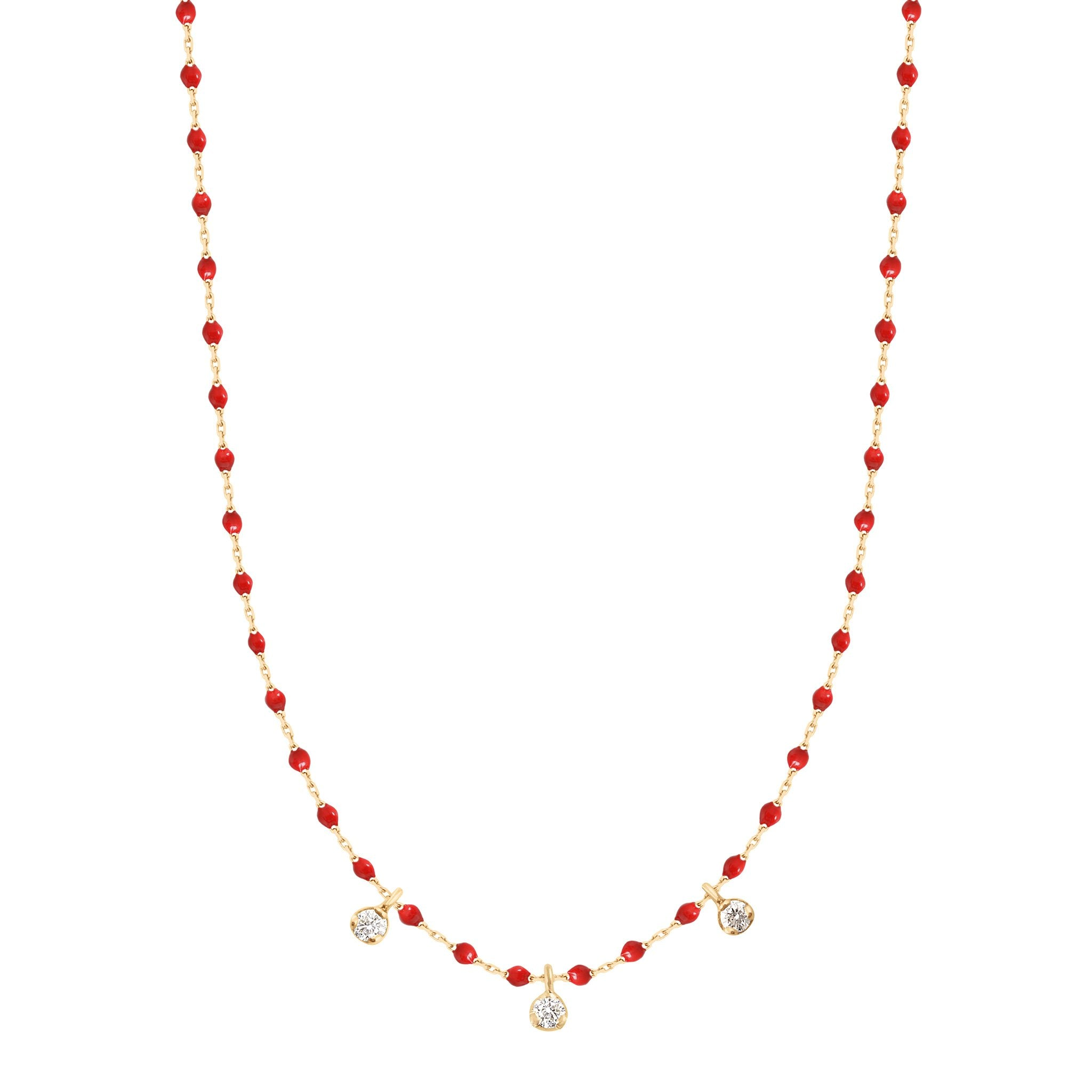 Gigi Clozeau - Collier coquelicot Mini Gigi, or jaune, 3 diamants, 42 cm