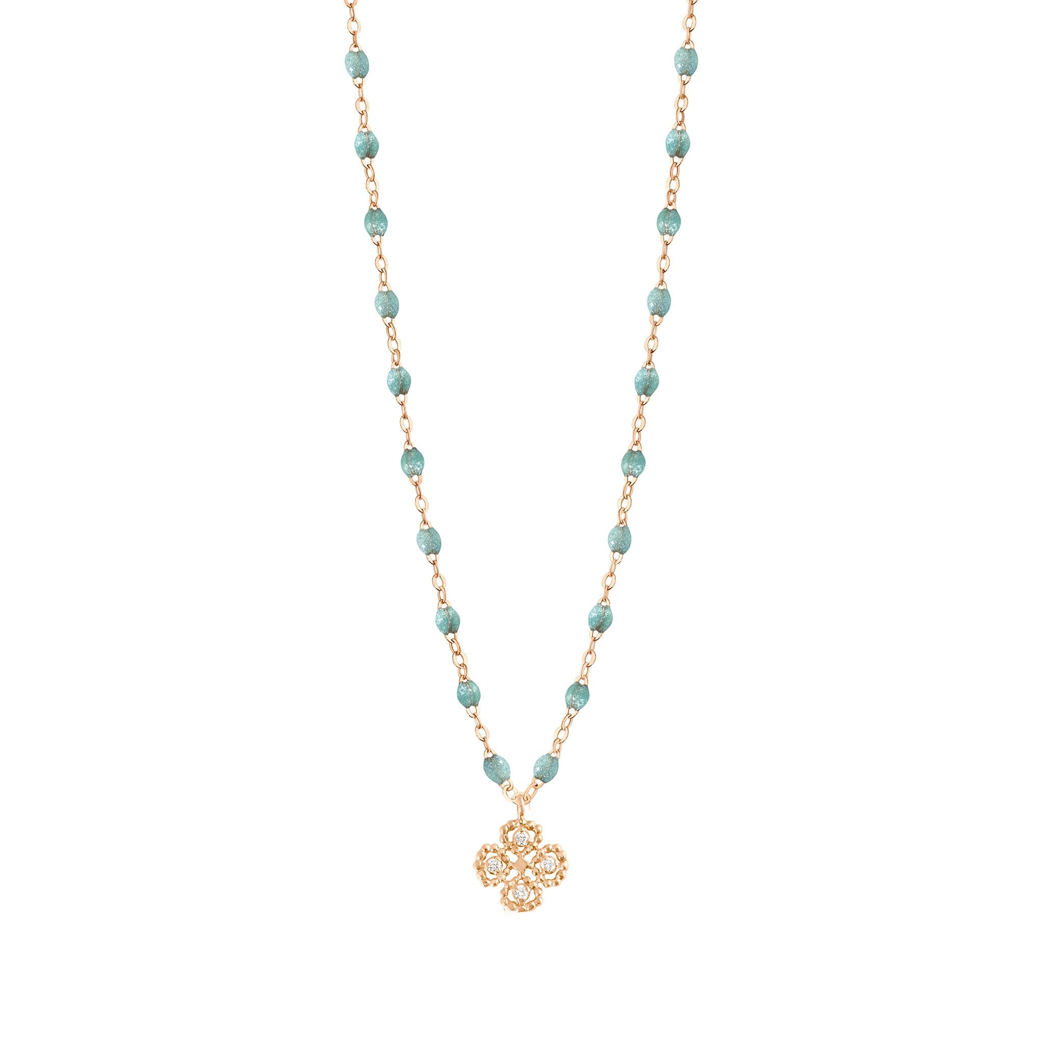 Gigi Clozeau - Collier glacier Lucky Trèfle, diamants, or rose, 42 cm