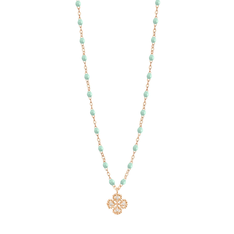 Gigi Clozeau - Collier jade Lucky Trèfle, diamants, or rose, 42 cm