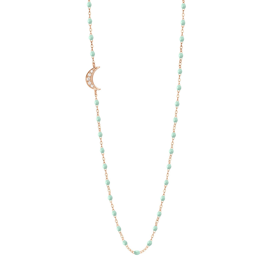 Gigi Clozeau - Collier jade Lune, diamants, or rose, 42 cm