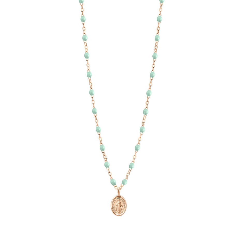 Gigi Clozeau - Collier jade Madone, or rose, 42 cm