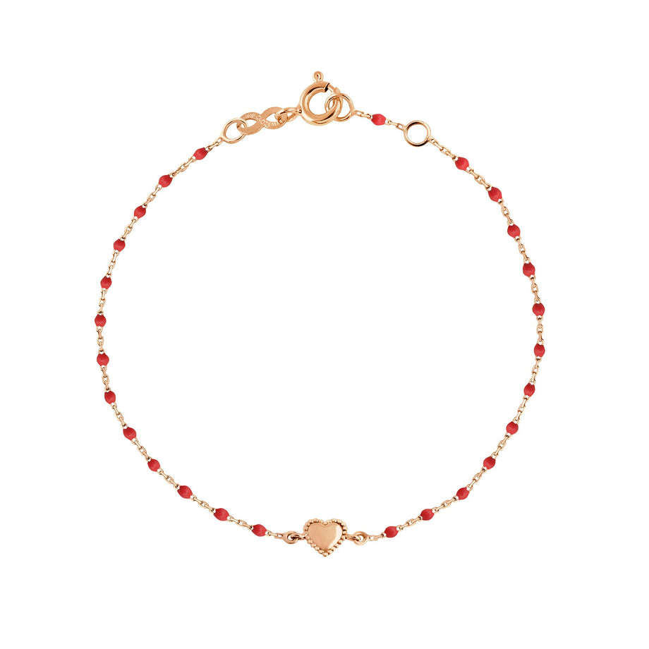 Gigi Clozeau - Collier Lucky Coeur coquelicot, or rose, 17 cm