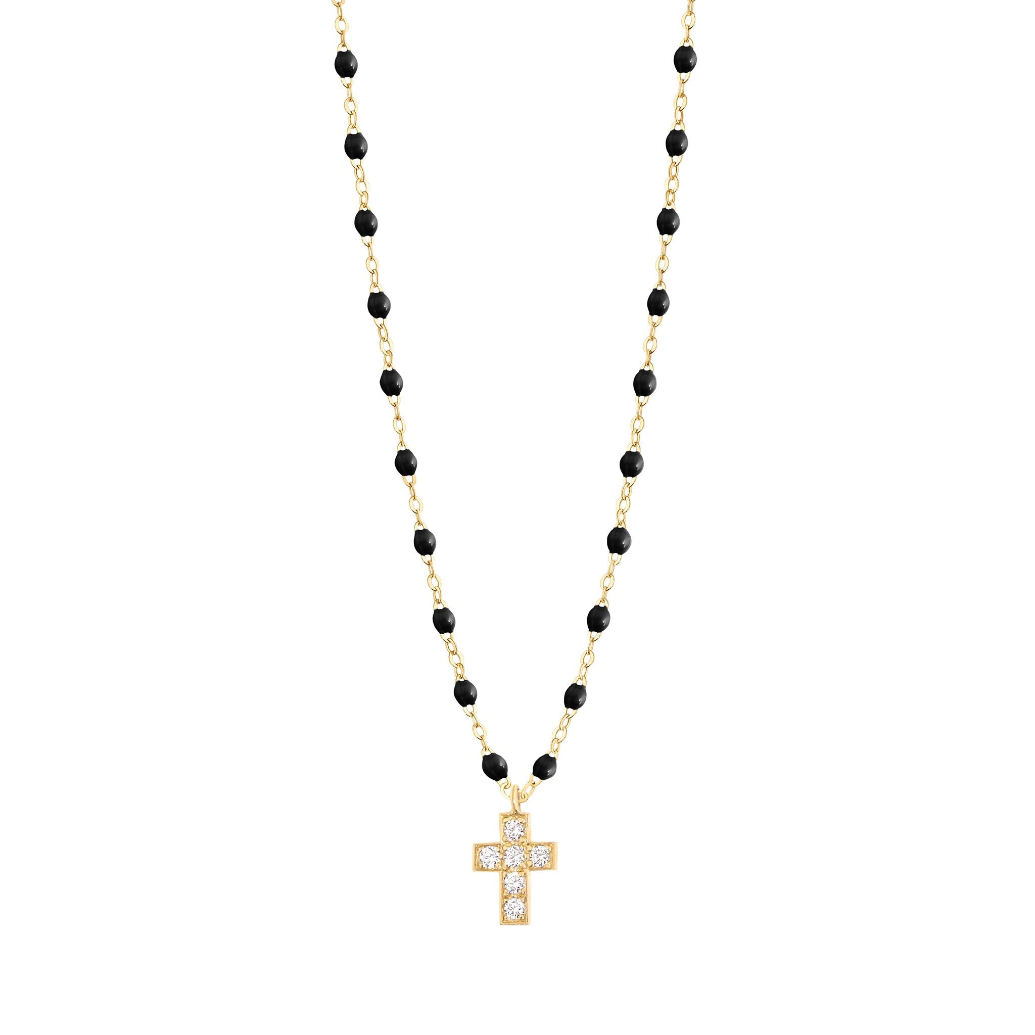 Gigi Clozeau - Collier noir Croix diamants, or jaune, 42 cm