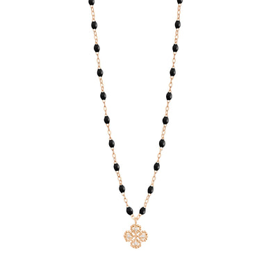 Gigi Clozeau - Collier noir Lucky Trèfle, diamants, or rose, 42 cm