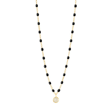 Gigi Clozeau - Collier noir Puce diamants, or jaune, 42 cm