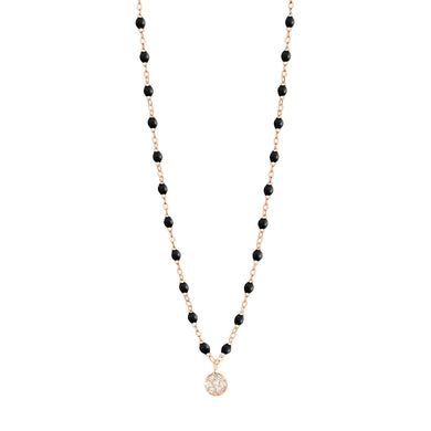 Gigi Clozeau - Collier noir Puce diamants, or rose, 42 cm