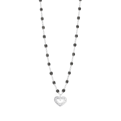 Gigi Clozeau - Collier quartz Cœur Suprême, diamants, or blanc, 42 cm