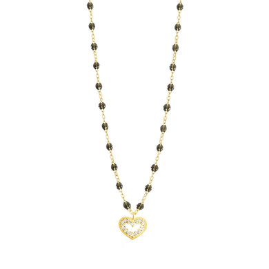 Gigi Clozeau - Collier quartz Cœur Suprême, diamants, or jaune, 42 cm