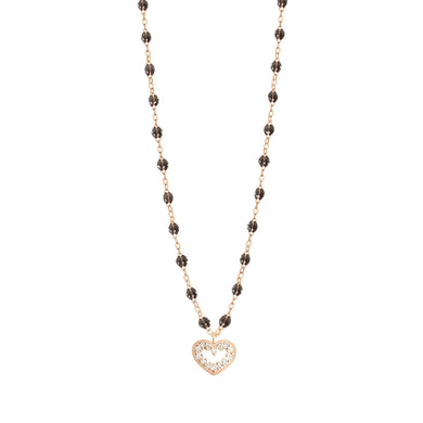 Gigi Clozeau - Collier quartz Cœur Suprême, diamants, or rose, 42 cm