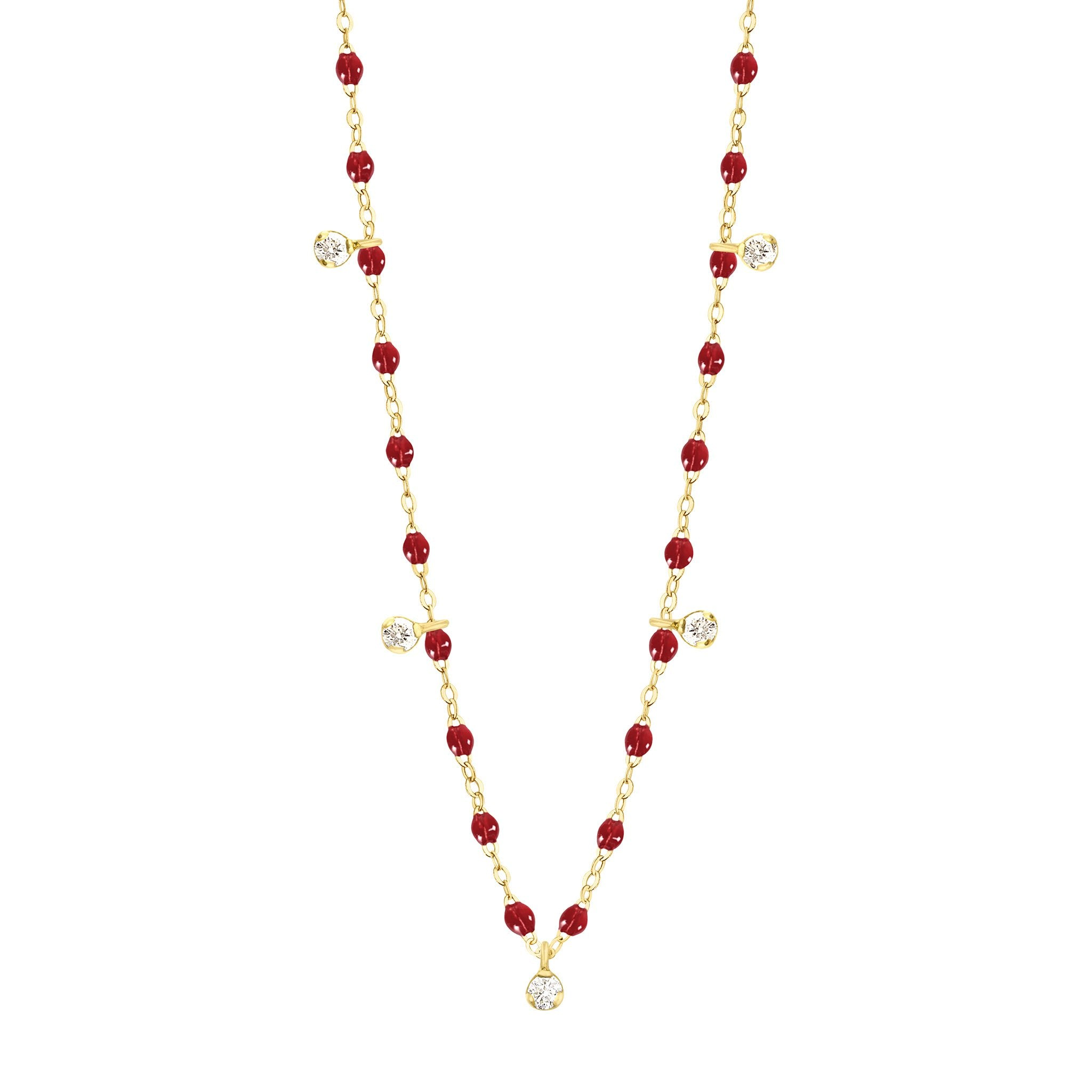 Gigi Clozeau - Collier rouge Gigi Suprême, or jaune, 5 diamants, 45 cm