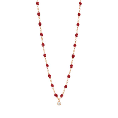 Gigi Clozeau - Collier rouge Gigi Suprême, or rose, 1 diamant, 42 cm