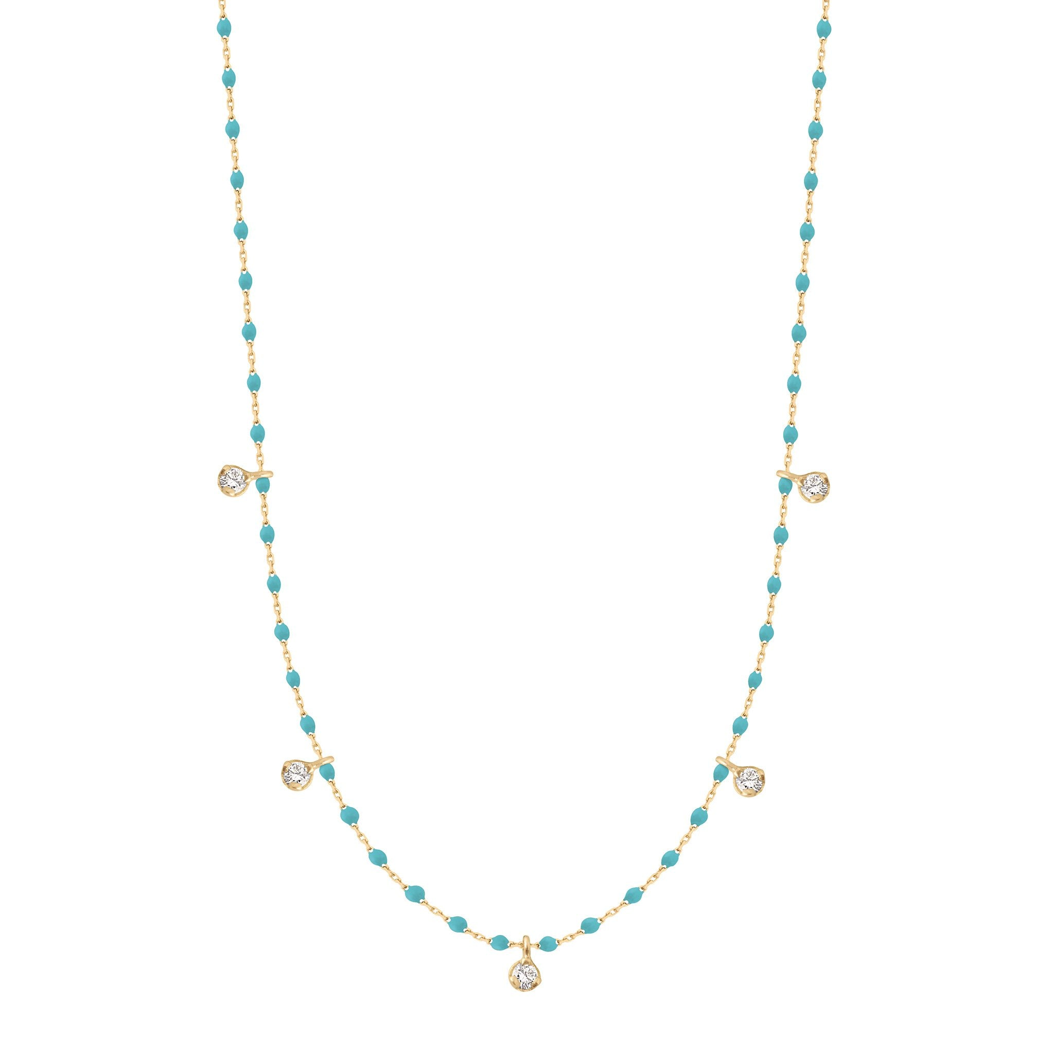 Gigi Clozeau - Collier turquoise vert Mini Gigi, or jaune, 5 diamants, 55 cm