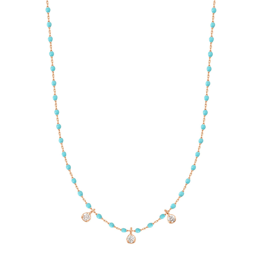 Gigi Clozeau - Collier turquoise vert Mini Gigi, or rose, 3 diamants, 42 cm