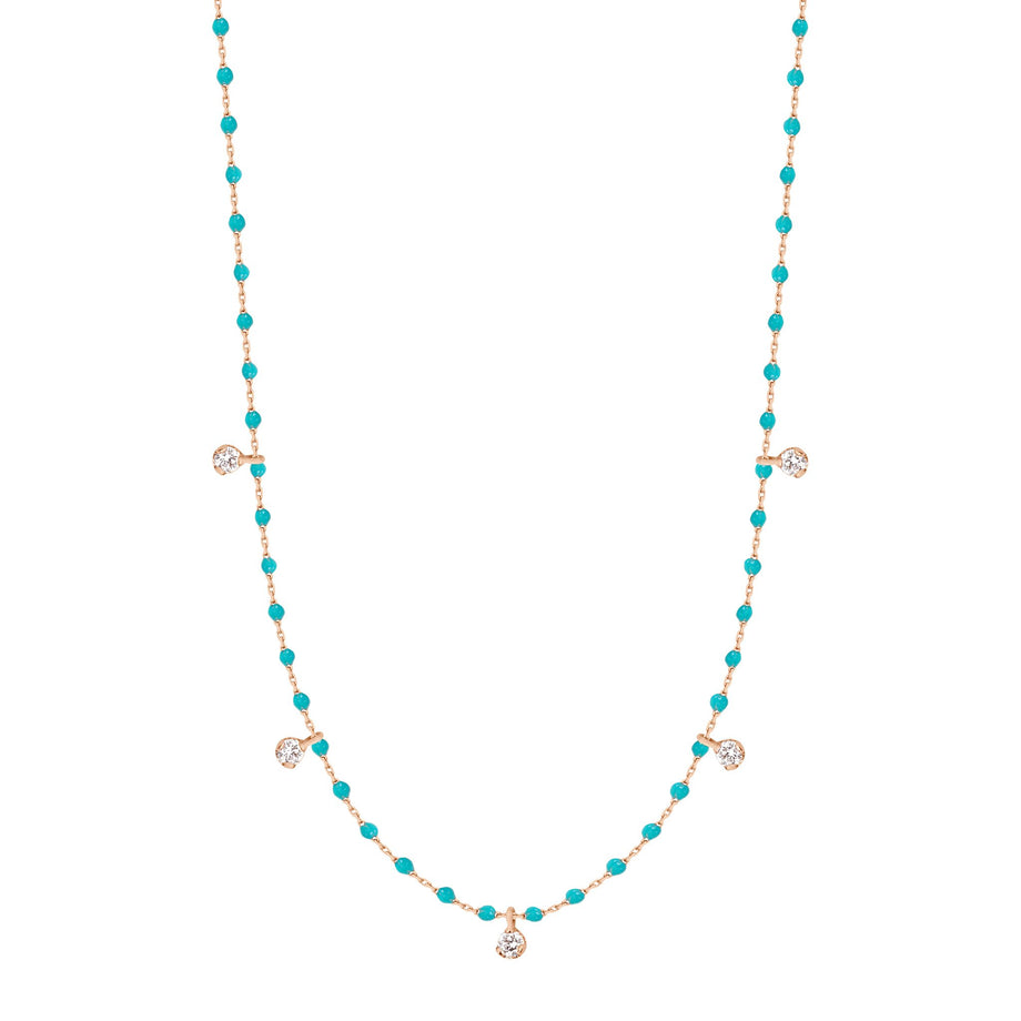 Gigi Clozeau - Collier turquoise vert Mini Gigi, or rose, 5 diamants, 55 cm