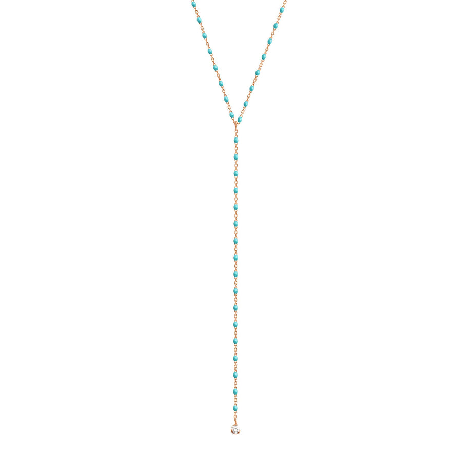 Gigi Clozeau - Collier turquoise vert Mini Gigi party Y, or rose, 1 diamant, 50 cm