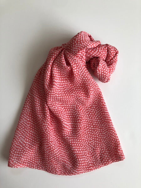 Orange White Polka Dots Print Hijab