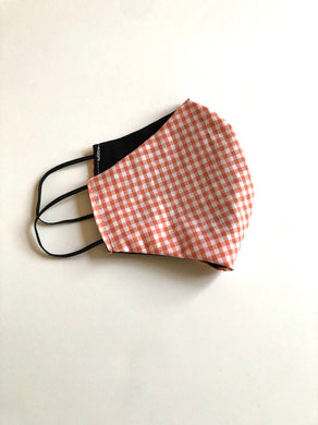 Handmade Face Mask In Plaid White And Navy