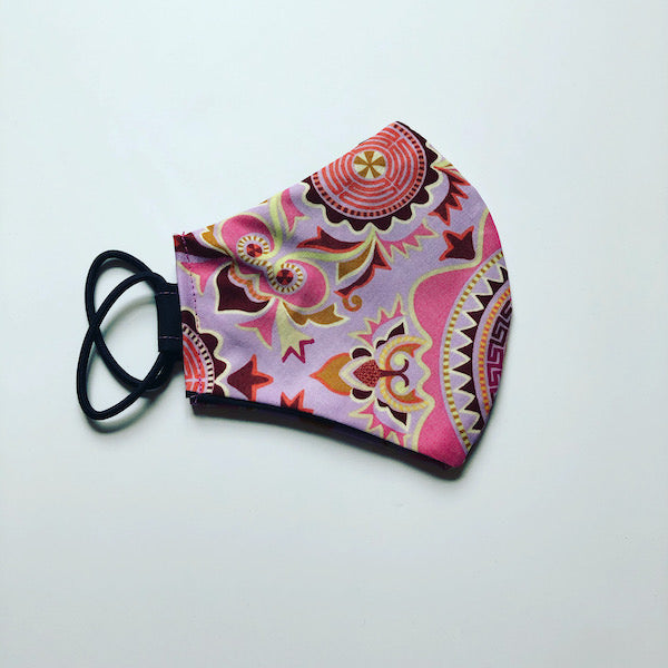 Washable Cotton Face Mask In Purple Print
