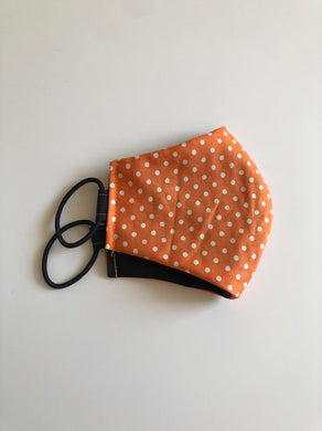 Washable Cotton Face Mask In Orange White Polka Dots Print