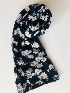 White Flowers Navy Print Hijab