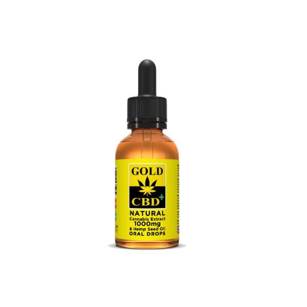 Gold CBD 1000mg CBD Cannabis Extract Hemp Seed Oil 30ml - YUVAPE ONLINE STORE