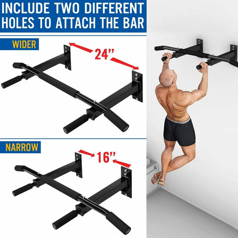 Wall mounted pull up bar - two modes of attachment