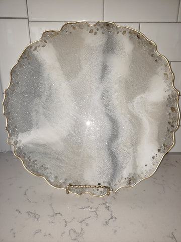 "Decorative Agate Plate- ""Crystal Lace"""