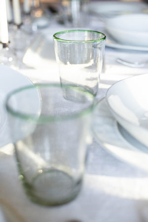 Green-Rimmed Handblown Drinking Glass