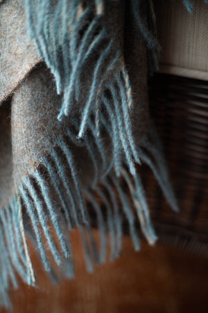 Merino Lambswool Throw - Soft Cocoa Brown and Rainwater Blue
