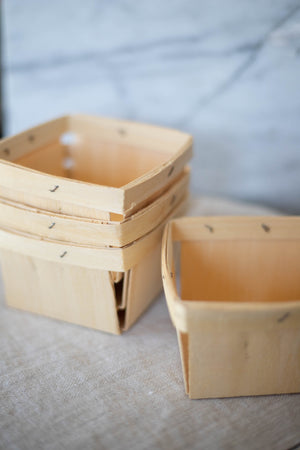 Wooden Berry Baskets (Square) - Set of 4