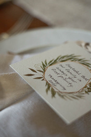 Blank Gratitude Table Cards with Ribbons for Thanksgiving