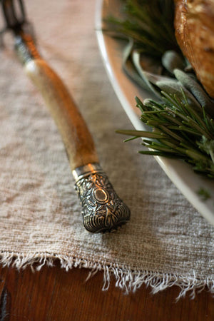 Vintage Antler Handled Meat Fork with Silver Accents