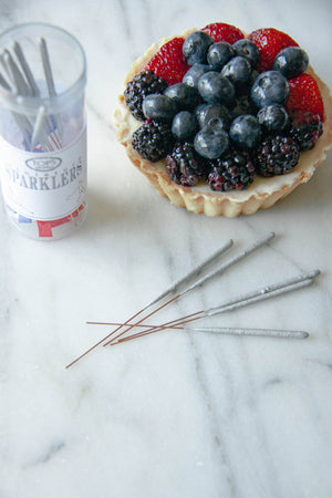 Mini Silver Cake Sparklers 4th of July
