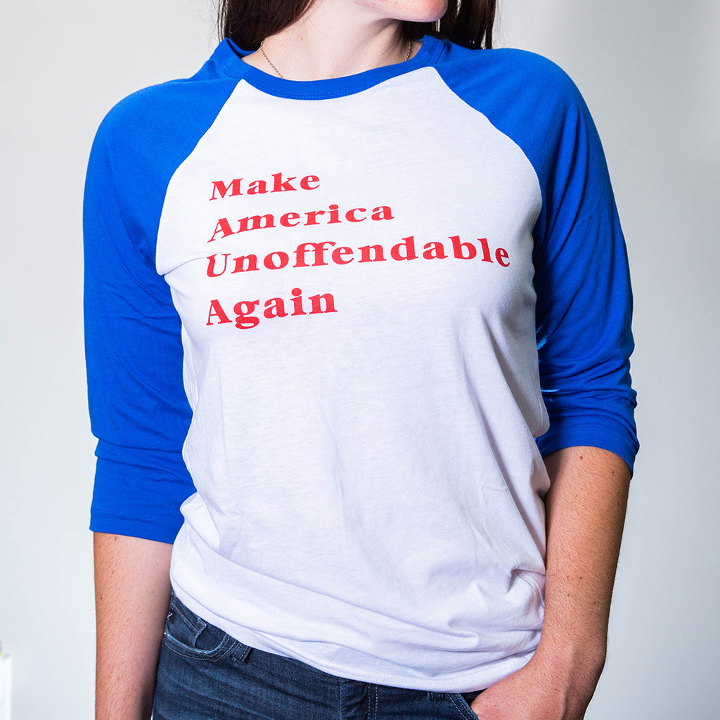 Make America Unoffendable Baseball Tee - Blue