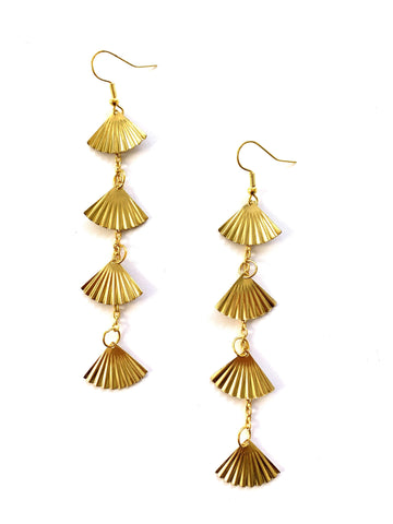 Gold Fan Statement Earrings