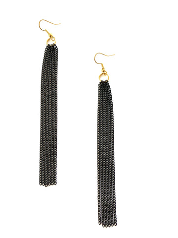 Black Chain Tassel Earrings