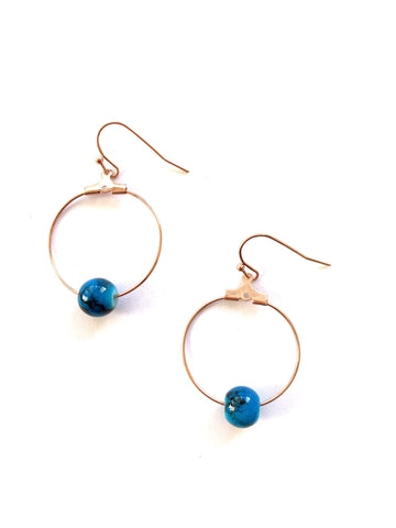 Rose Gold & Blue Marble Bead Hoops