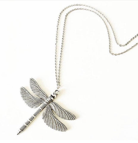 "Large Dragonfly (55mm) Pendant Necklace (20"" chain) - highmaintenancejewellery"