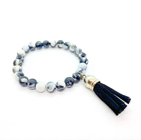 Marble Bead with Black Suede Tassel Charm